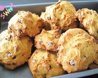 Homemade soft pumpkin chocolate walnut Cookies--Chocolate Chip Cookies with walnut----one dozen homemade cookies---Christmas gift