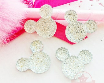 4 pcs Mickey Mouse Crystal Clear Glitter Resin Rhinestone 18mmx23mm Flat back ~ Q1-10