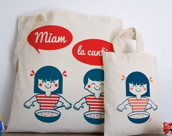 Tote, totebag, yum, canteen, mini bag, retro, child, cute illustration, cute, kawaii, red, white and blue, france, vudo ateliervudo MIF