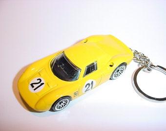 3D Ferrari 250 LM custom keychain by Brian Thornton keyring key chain finished in yellow racing color trim diecast metal body