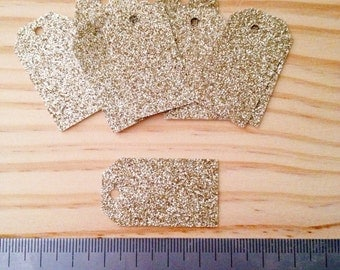 Shimmering Gold Glitter Tags - Lot of 100 tags.