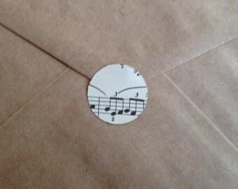 """Vintage Music Sheet Sticker Seals - 1"""" x 35"""