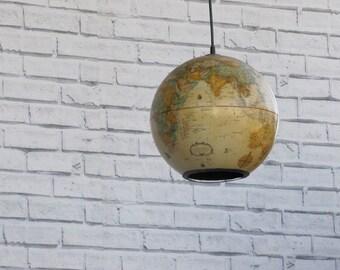 Vintage world globe pendant repurposed light for Repurposed light globes