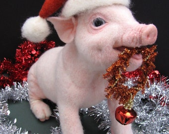 SOLD - EXAMPLE  ONLY.  Christmas Piglet- Handmade Wool Needle Felted Animal Sculpture