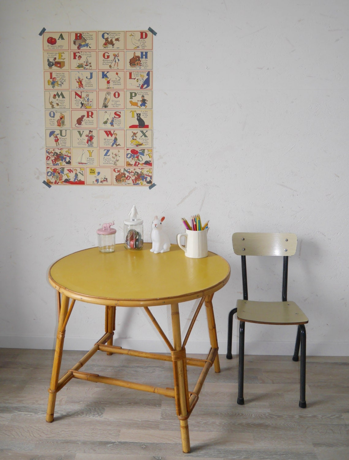 Table basse en rotin vintage haute juice - Table basse gigogne vintage ...