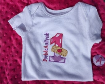 Personalized Doc McStuffins birthday shirt / girls applique birthday shirt sizes 6 month - 4T