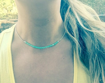 Turquoise Beaded Choker Necklace with White Chain - Seed Bead Necklace - Turquoise Necklace - Choker