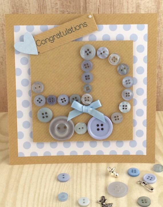 Handmade Button Pram New Baby Card Boy