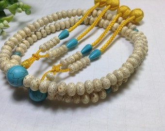 Juzu prayer beads,Seigetsu bodaiju linden seeds with Green Turquoise Oyadama,Gold woven balls