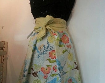 Beautiful Handmade Vintage Inspired Half Apron,  lovely Spring Birds Style Apron