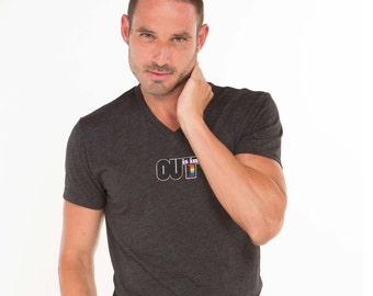 OUT is in USA V-neck Gray T-shirt