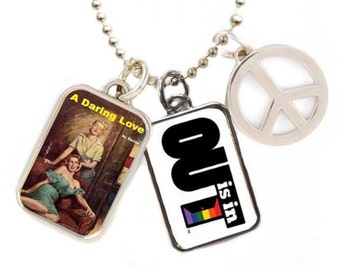 "OUT is in ""A Daring Love"" Necklace, Pride necklace, Gay pendant, Lesbian Love necklace, Peace sign necklace"