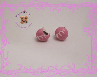 Chip candy m and ms in fimo earrings