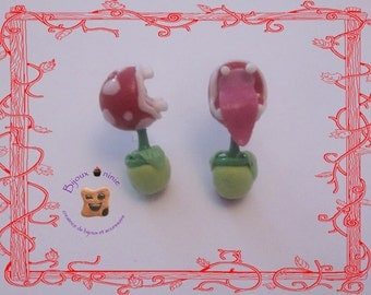 Mini chip earrings plant carnivorous mario in fimo