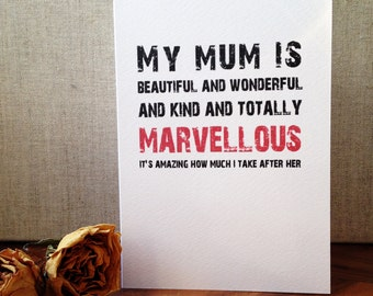 Mother's Day Card. My Mum Is Marvellous Greetings Card. Brilliant Mom Mam Mother. Scandi Design. Typographic Monochrome Red