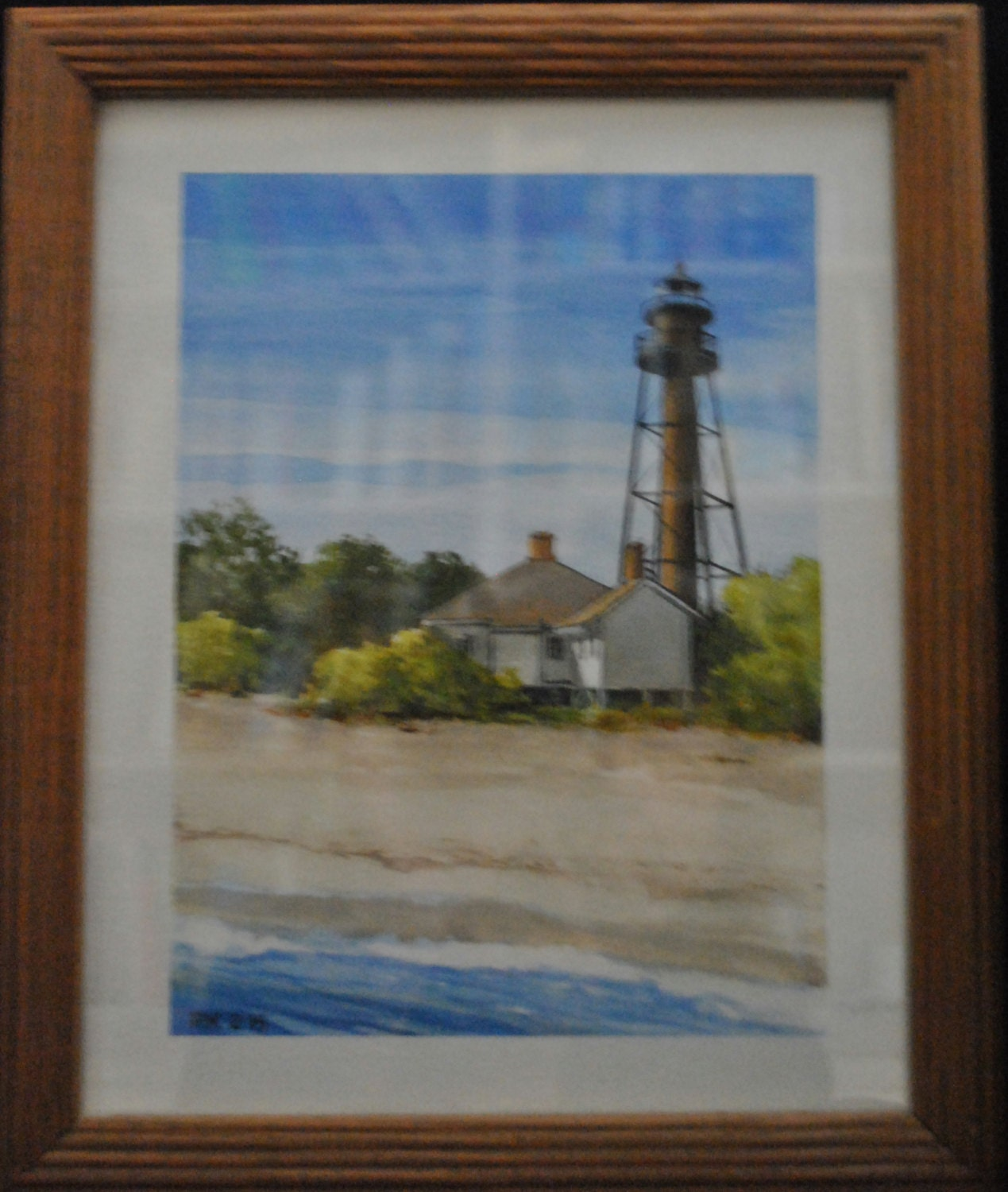 acrylic painting on watercolor paper sanibel lighthouse