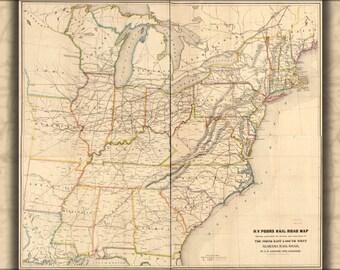 24x36 Poster; Map Northeast & Southwest Alabama Railroad, 1854