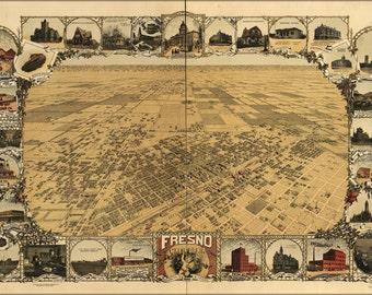 24x36 Poster; Map Of Fresno, California 1901
