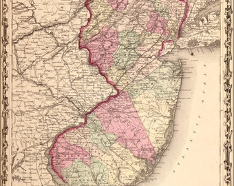 24x36 Poster; Map Of New Jersey 1862