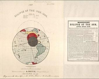 24x36 Poster; Solar Eclipse Map 1846 April 25