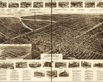 24x36 Poster; Aero-View Map Of Lindenhurst, Long Island, 1926, New York
