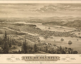 24x36 Poster; Bird'S Eye View Map Of The City Of Olympia, East Olympia And Tumwater, Puget Sound, Washington Territory, 1879