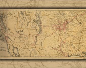24x36 Poster; Map Atchison Topeka & Santa Fe Railroad 1899 P10