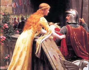 24x36 Poster; God Speed! By Edmund Blair Leighton, 1900 A Late Victorian View Of A Lady Giving A Favour To A Knight About To Do Battle