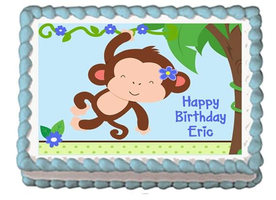 Cute monkey boy edible 1st birthday baby shower party cake or - Monkey baby shower cakes for boys ...