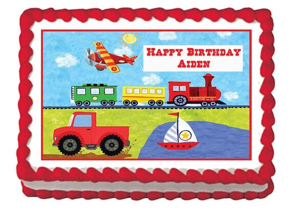On The Go Transportation Truck Train Cars Edible Birthday