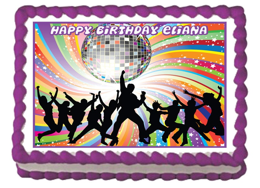 DISCO DANCE Edible Birthday Party Cake Or cupcake Toppers