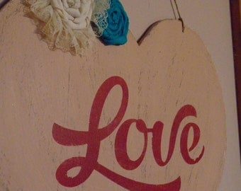 Distressed Heart-Shaped Love Sign with Red Lettering & Embellishments - Love -Embellished Heart -Wedding Gift - Anniversary