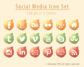 Autumn Leaves Social Media Icons - 18 Icon Set - INSTANT DOWNLOAD