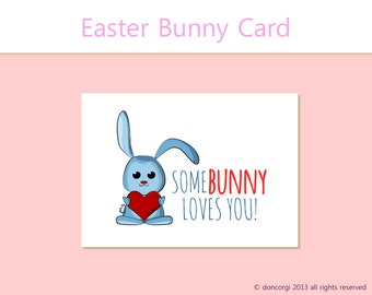 Easter Bunny Card - Printable Card, Greetings Card, Happy Easter, Funny Card INSTANT DOWNLOAD