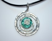 Cremation Jewelry Ash Necklace-Fused Glass and Hammered Wire Memory/Memorial Pendant made of your loved one's ashes-Cremation Glass Jewelry