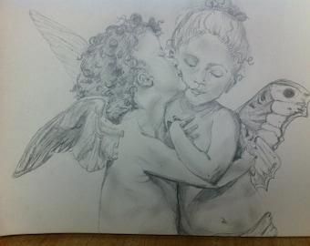 KISSING ANGELS- Graphite Illustration