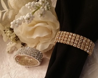 Wedding Accessories, Wedding Table Decoration, Wedding Decor, Gold Rhinestone Decoration, Crystal Napkin Ring, Rhinestone Wedding Decoration