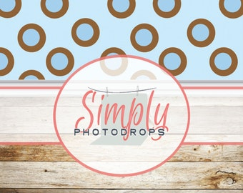 Blue dots with Barn wood floor ALL IN ONE vinyl Photography Backdrop