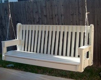 Brand New 6 Foot Painted High Back White Porch Swing - with Hanging Chain or Rope - Free Shipping