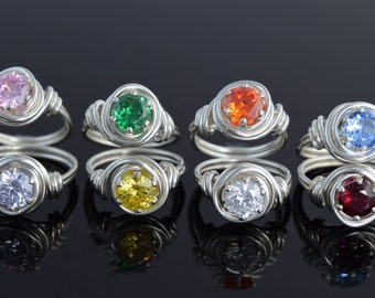 Sterling Silver Birthstone Rings