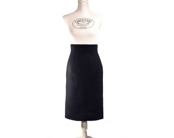 Finest French wool, black high waist Pencil Skirt