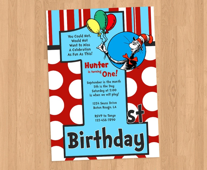 Dr Seuss 1st Birthday Invitation DIY Printable