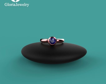 Natural Blue Sapphire Rose Gold Bezel Ring. High Quality and Most Fashionable Bezel Rings B1