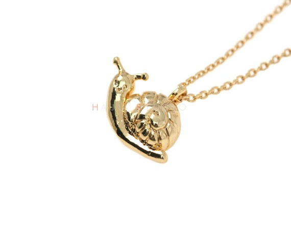 snail necklace snail charm necklace snail by hajustudio on