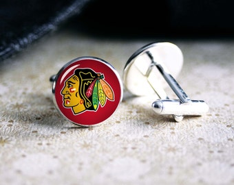 Blackhawks hockey team cufflinks. Gift idea for men, Fathers day, Christmas, prom, wedding cuff links.