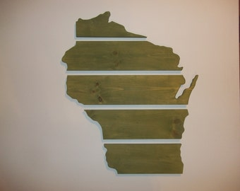 Handmade Wood Wisconsin State Wall Hangining
