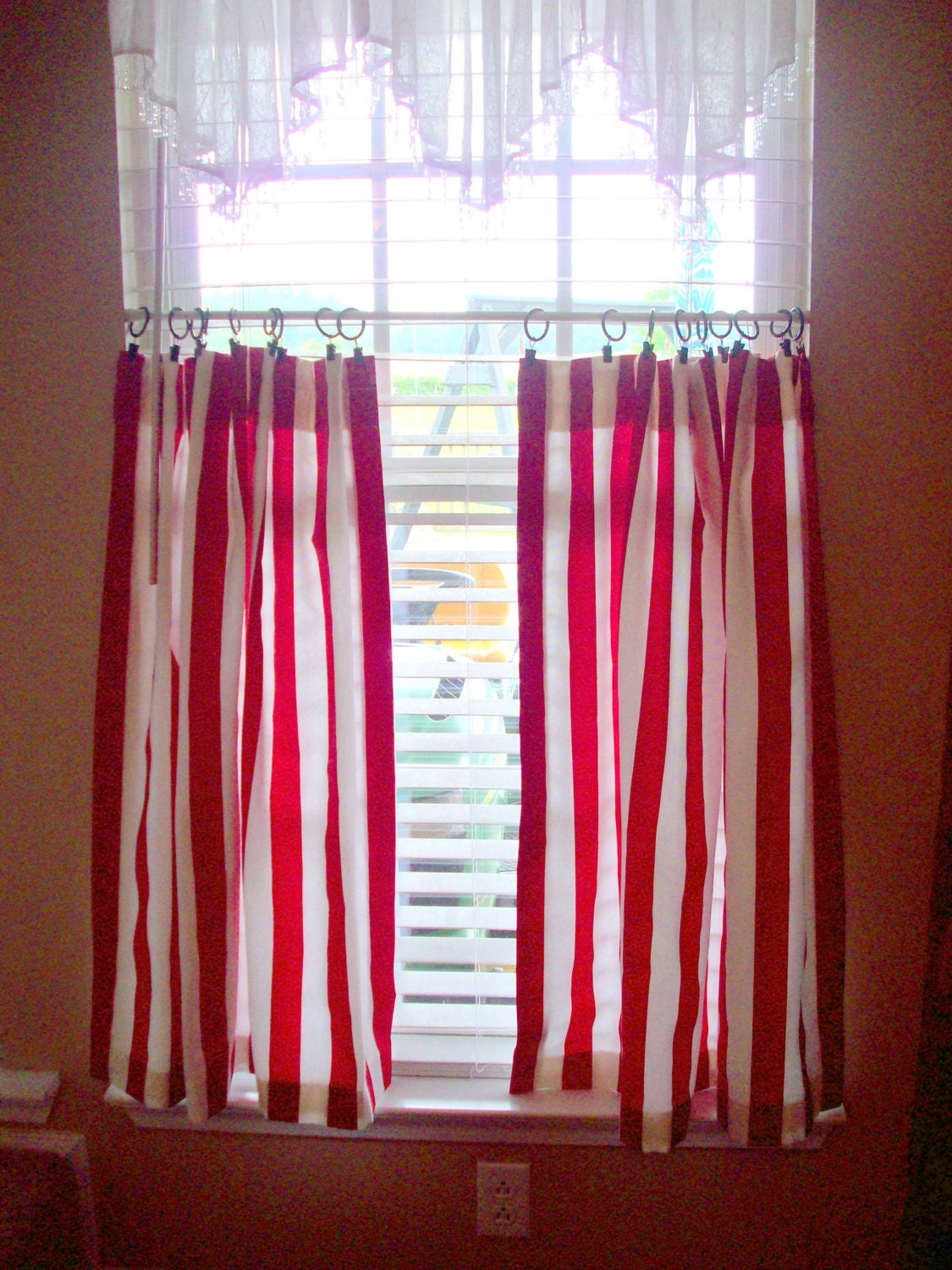 Striped Kitchen Cafe Curtains 2 Panels Tiers Valance Sold