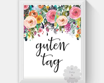 guten tag german hello saying printable wall art nursery playroom print home decor watercolor floral wall art print art quote
