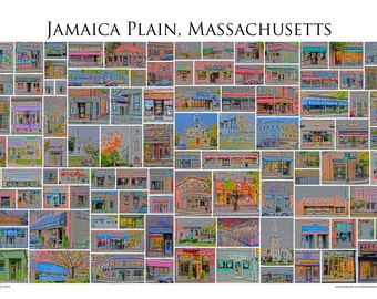"Jamaica Plain, Massachusetts - A framed 13x19"" Photographic Collage of Jamaica Plain Store Fronts and Landmarks"