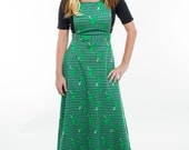I Feel Lucky/ Adorable Vintage Green Clover Overall Dress/ 60's,70's/ Medium